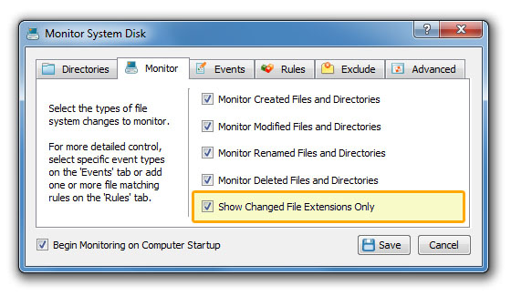 DiskPulse Server Monitor Changed File Extensions